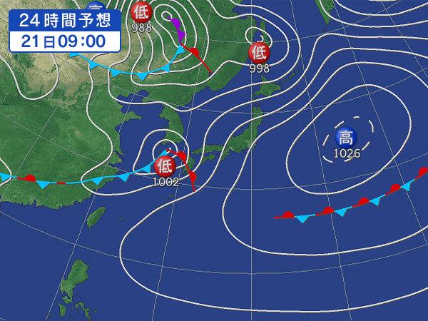 明日はオンショア&雨〜
